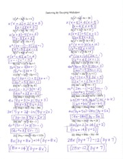 Factoring Notes and Answers to Practice