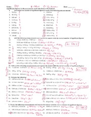Significant Figures in Measurements and Calculations Worksheet - Key -