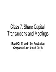 TABL 2741 (Class 7) Share Capital and Meetings (AH)