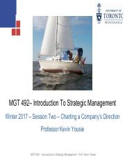 MGT 492 - Session Two Slides - Charting a Company's Direction - Winter 2017