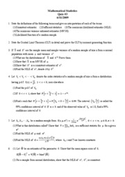 Mathematical Statistics Quiz#3--2009