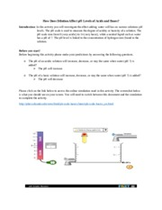 Ph Lesson A Amp P How Does Dilution Affect Ph Levels Of Acids And