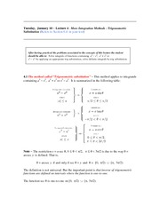 Lecture 4 (Trig Substitution)