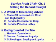 Chs 1 and 2 (Service Profit Chain Summer 10 )