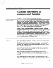 Scan - CULTURAL CONSTRAINTS IN MANAGEMENT THEORIES