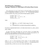 Lagrange's Equations for Multi-Degree-of-Freedom, Planar Systems Review
