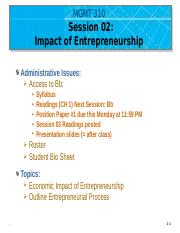 MGMT 310-Session 02 Economic Impact of Entrepreneurship - UPLOAD