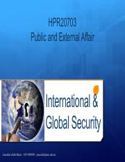 TOPIC 9 - INTERNATIONAL GLOBAL SECURITY