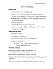 ANTIFUNGAL DRUGS STUDENT NOTES