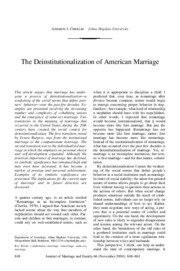 The Deinstitutionalization of American Marriage