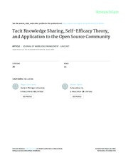 Tacit Knowledge Sharing, Self-Efficacy Theory, and Application to the Open Source Community