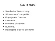 Role of SMEs