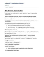 The Power of Diversification summary