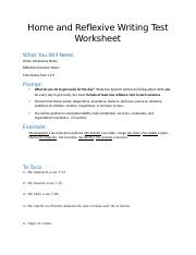 Home and Reflexive Writing Test Worksheet