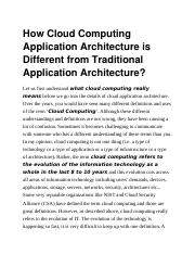 How Cloud Computing Application Architecture is Different from Traditional Application Architecture.