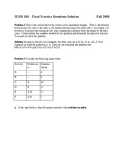IEOR 160-practice final Solution