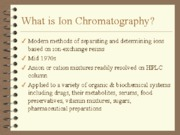 Chromatography Ion exch