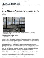 Discussion #1 - Coal Miners Pressed on Cleanup Costs