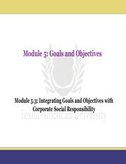 Module 5.3_Integrating Goals and Objectives with Corporate Social Responsibility