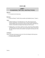 CECS 285 - Lab 4 - Call Instructions