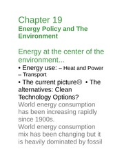 Econ 277-Ch 19 energy and the environment