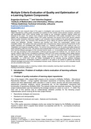 Multiple Criteria Evaluation of Quality and Optimisation of e-Learning System Components