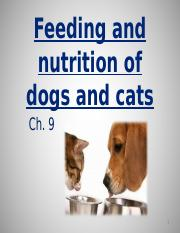 Ch. 9 feeding and nutrition of dogs and cats part 1