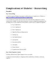 Complications of Diabetes Researching