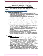 ACC American History Unit 2 Test Study Guide Chapter 8