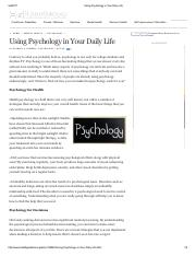 Using Psychology in Your Daily Life