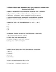 CIS 106 - Customize, Analyze, and Summarize Query Datta (Chapter 3) Multiple Choice Questions Study