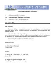 EXCUSE LETTER for AYALA accountancy week students