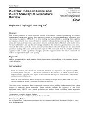 Auditor Independence and Audit Quality - A Literature Review