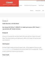Essay 2 pdf - Current Semester CS6440 Introduction to Health