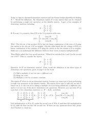 Elementary Matrix Operations Problem Set