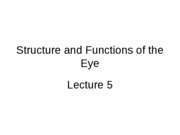 Sensation _ Perception - lecture 5 - structure and functions of the eye