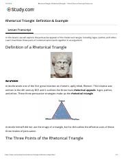 Rhetorical Triangle- Definition & Examp... Video & Lesson Transcript | Study.com