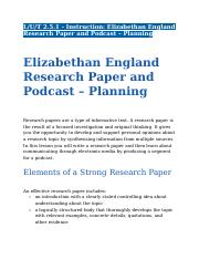 2.5.1 - Instruction - Elizabethan England Research Paper and Podcast – Planning .docx