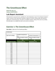 schuneman, C- The Greenhouse Effect