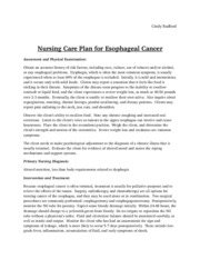 Esophageal Cancer Care Plan