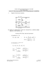 Electrohydrodynamic and Ferrohydrodynamic instabilities notes