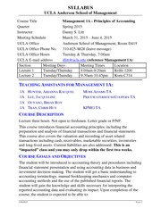 Syllabus for Principles of Accounting 1A - Spring 2015(1)