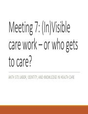 Meeting 7 Invisible care work