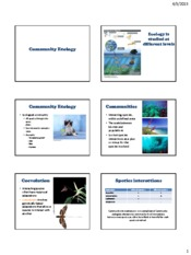 Lecture 21 Community Ecology