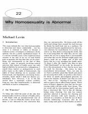 article - Levin, Michael (2002). Why Homosexuality is Abnormal