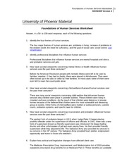 Foundations of Human Services Worksheet