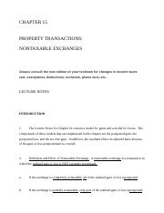 IT Chapter 15: Property transactions: nontaxable exchanges notes.docx
