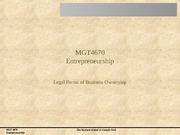 Session 08 Legal Issues in Entrepreneurship - Legal Forms of Business Ownership