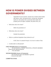 How is power divided between governments