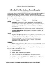 Business Report Template for Students